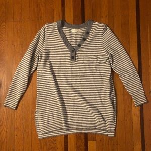 By Anthropologie gray striped v neck sweater M